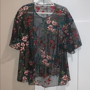 Kimchi Blue floral embroidered sheer relaxed top
